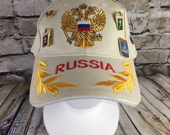 Vintage From Russia With Love Poccnr Hat with Pins Komsomal Cap Running Snapback