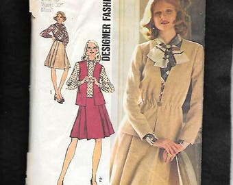 Vintage 70's Simplicity 5730 Misses' Dress With Contrasting Bodice, Pleated Skirt, Vest, And Cardigan Jacket, Size 16