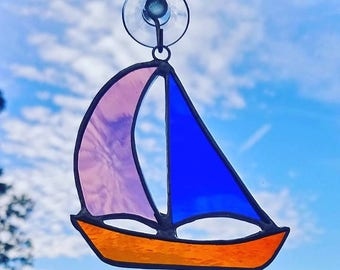 Sailing Boat Stained Glass Suncatcher - MADE TO ORDER - Window Hanging Ornament - Yacht Decoration - Gift for Her or Him - Seaside Gift