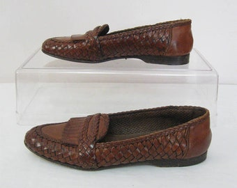 COLE HAAN Vintage Women's Size 6 AA Brown Woven Leather Slip On Pants Shoes Made in Italy See details