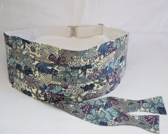 Men's Cummerbund & Bow tie, Liberty of London gray/ivory/blue/purple Mauvey fabric, wedding party attire, tux accessory, groom formal wear