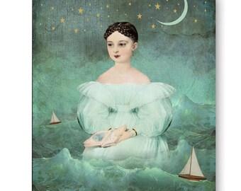 Ocean Moon Ship Nautical Reading Print Digital Art Book Night Sky Blue Grey Surreal Home Decor Beach House Sailboat