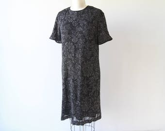 1970s Midnight Florals Knit Dress / Vintage 70s Black Floral and Silver Lamé Sheath / Large