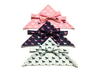 Men's Derby Bowtie with Pocket Square, Horse Bow Tie, Pre-tied, Derby Horse, Derby Style, Navy, Bow Tie, Fathers Day, Horse racing, Kentucky