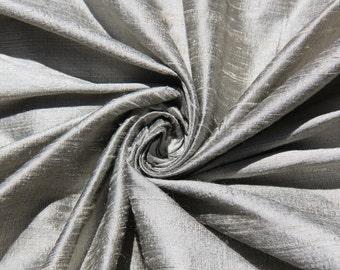 "Pewter 100% dupioni silk fabric yardage By the Yard 55"" wide"