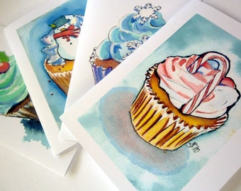 Cupcake Christmas Cards - Watercolor Art Greeting Cards, Set of 24