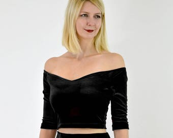 SPECIAL EDITION Coco Stretch Velvet Off Shoulder Black Bodycon Stretch Top. Elegant Christmas Party Long Sleeve Strapless Velour Crop Top