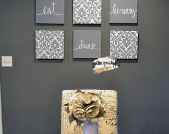 Gray Wall Decor Eat Drink Be Merry Wall Art Set Canvas Wall Hanging Gray Chic  Dining