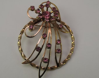 Gold Tone Pin with Pink Rhinestones 1940-50s