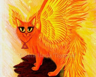 Fire Cat Art Cat Painting Elemental Winged Phoenix Flames Fantasy Cat Art Limited Edition Canvas Print 11x14 Art For Cat Lover