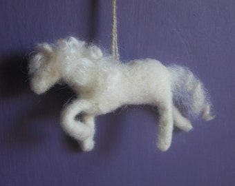 Horse Ornament, Handmade Felted Horse, Pony Ornament, Christmas Gift, White Horse, Wreath Decoration, Nursery Decoration, Equestrian Gift