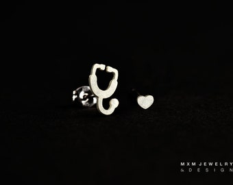 Sterling Silver Stethoscope & Heart Stud Earrings