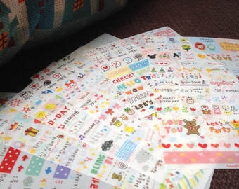 Sticker of 276pcs Drawing market daily life stickers in 6 sheets (Half transparent)
