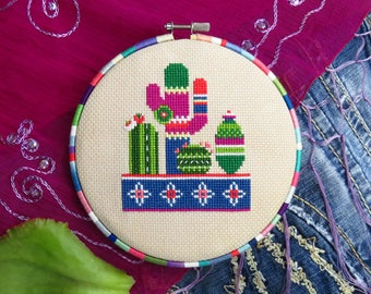 No. 1 Cactus Cross Stitch Pattern PDF, Modern, Succulents And Cacti, Instant Download, Cute Cacti Plants Chart, DIY Mexican