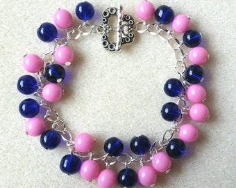Pink and Blue Glass Cluster Bracelet