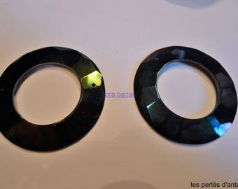 2 rings antique past glass