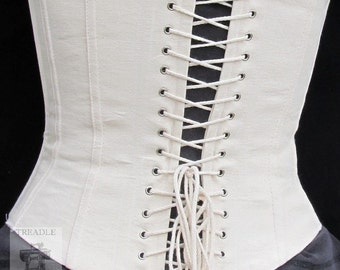 Civil War Lined Working Corset with Grommets - Custom Made