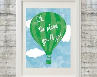 Oh The Places You'll Go Nursery Art Printable 11x14 Dr. Seuss Instant Download File