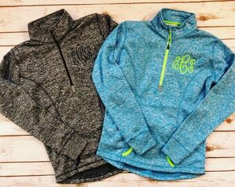 Monogrammed quarterzip - monogram - monogrammed sweatshirt - Quarter Zip Pullover - Half Zip Pullover - Monogram Pullover- Zippered Pullover