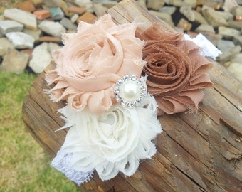 Shabby Chic Headband, Newborn Headband Photo Prop, Lace Headbands For Babies, Kids Hair Accessories, Head Bands For Girls, Headband Girl