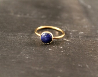 Lapis Lazuli Thick Gemstone Ring - ONE RING (Gold Rose Gold Sterling Silver September Blue Birthstone Stacking Ring Gifts For Her Under 50)
