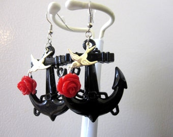 Tattoo Swallow Black Red Rose Anchor Earrings