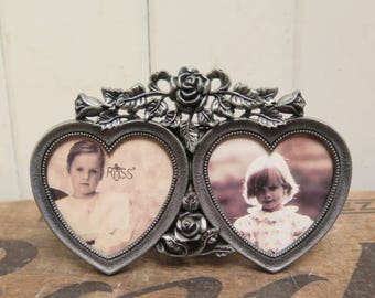 Roses and Hearts Double Pewter Picture Frame  Antiqued  Pewter / silver colored heavy metal frame