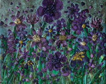 Purple Flowers encaustic painting