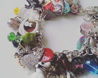 I LOVE CATS, Loaded, cat charm bracelet, cat bracelet, ceramic, glass, cat charms bracelet, boho, cat lady,  by Newellsjewels on etsy
