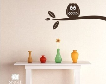 Owl on Branch Wall Decal - Vinyl Stickers Art Custom Home Decor