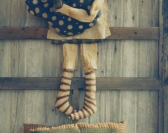 Primitive Cloth Doll Pattern Raggedy Ann EPattern Needle Punch Chicken Pillow PDF Handpainted Fabric Folkart Folk Art Hickety Pickety  AS7
