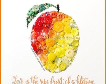 Fourth Anniversary   Fruit & Flowers Anniversary   Button Art Mango   Traditional Wedding Anniversary Gifts   Wedding Calligraphy