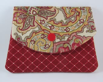 Women's Wallet, Fabric Wallet, Credit Card Holder, Small Women's Paisley Fabric Wallet and Card Holder, Gift for Her Under 20