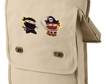 Pirates Versus Ninjas Embroidered Canvas Field Bag