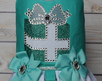 Dog Harness, Turquoise, Robins Egg Blue, Present, Gift Box, Dog Wedding Harness, Dog Birthday Dress, Bling, Small Dog Clothes, Large Dog