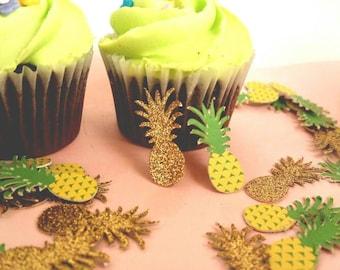 Pineapple party pineapple confetti, Hawaiian luau, Hawaiian party, gold pineapples,pig roast, tiki party,  tropical party, tropical wedding,