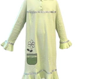 Girls Cotton Nightgown Long Sleeve Light Green Flary  & Night Dress Night Dress,Pajamas with Ruffles