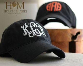 Monogrammed Black Hat - Monogrammed Baseball Cap - Women Baseball Hat- Personalized Baseball Hat - Black Monogrammed Hat