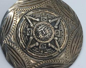 Sterling 925 Mayan Sun God Silver Brooch or Pendant - Signed Mexican Silver Pendant or Brooch - Aztec Mayan Sun God Pin