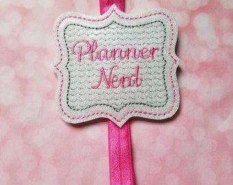 Planner Nerd Pink Planner Band, Planner Accessories, Bookmark, Erin Condren, Planner Band