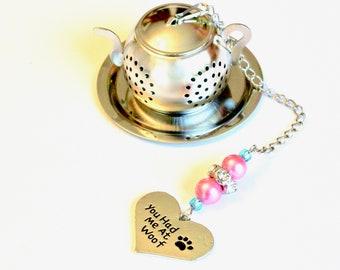 Dog Heart Tea Infuser with Pink & Blue Beads, Dog Lover Tea Ball Infuser, Beaded Mesh Tea Ball, Mad Hatter Tea Party,  High Tea, Tea Gift