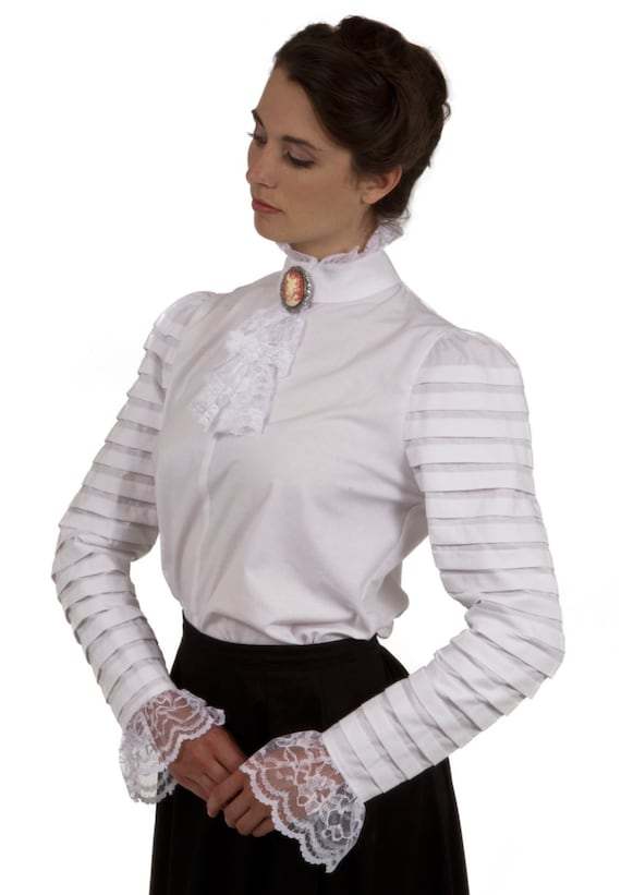 Edwardian Blouses | White & Black Lace Blouses & Sweaters Blanche Edwardian Blouse $75.00 AT vintagedancer.com