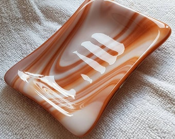 Glass soap dish.  Unique, modern, fused glass in amber tones. Perfect gift. Bathroom or cloakroom.