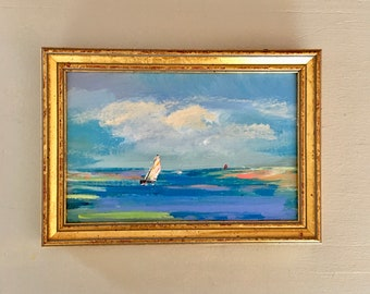 Sailing Study Painting -Original -Beach Art- Small Art- Painting- Art -5-1/2 x 7-1/2 -including frame- Ready to Hang