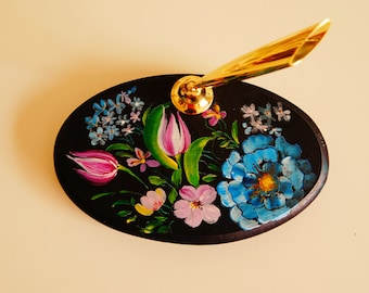 Hand painted/acrylic painting/home decor--wooden pen holder holland folk art style