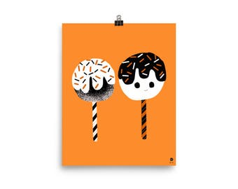 Candy Apple Friends-8x10 art print-vintage inspired Halloween illustration