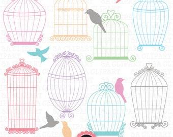 "Birdcages clipart ""BIRDCAGE CLIP ART""pack, Wedding birdcages,Love bird, perfect for Wedding invitation Instant Download Wf033"