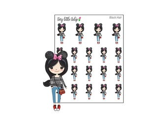 Planner Stickers Doodle Girl with Mouse Ears