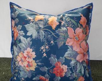 Extra Large Cushion Pink And Slate Grey On Blue Background