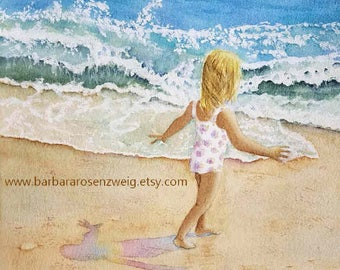 Beach Painting, Beach Art, Coastal Wall Art, Beach Print, Nursery Decor, Girl Room Decor, Beach Print, Child Art, Beach Decor, WatercolorArt